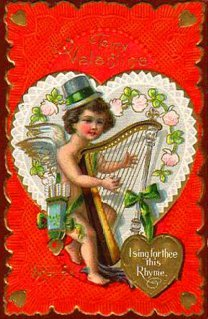 vintage valentine cupid playing harp