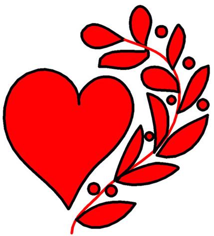 love heart drawings red heart laurel wreath