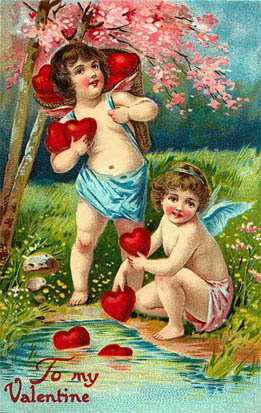 valentine heart clipart 2 cherubs with red hearts