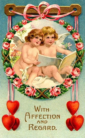 old style postcard angesl loe hearts