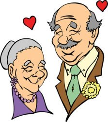 elderly caucasian couple in love red hearts