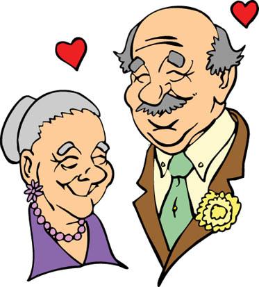 elderly caucasian couple in love red hearts
