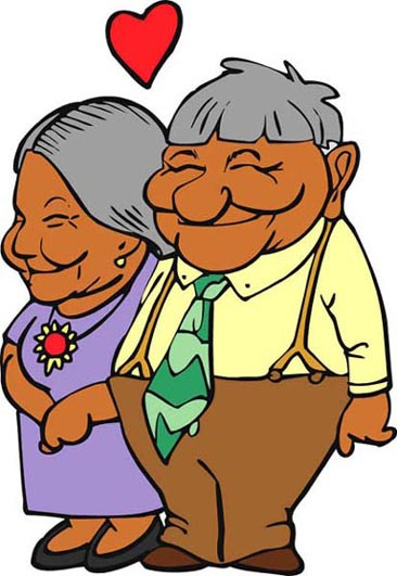elderly couple in love red heart
