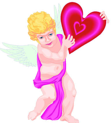 cupid carrying red pink love heart