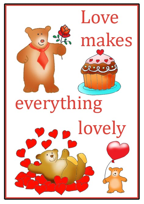 cute love sayings everything is lovely hearts teddy bear