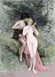 lovers in forest old vintage love picture