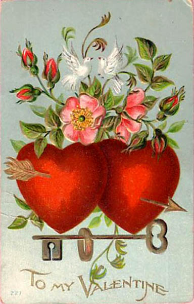 to my Valentine card with red hearts doves