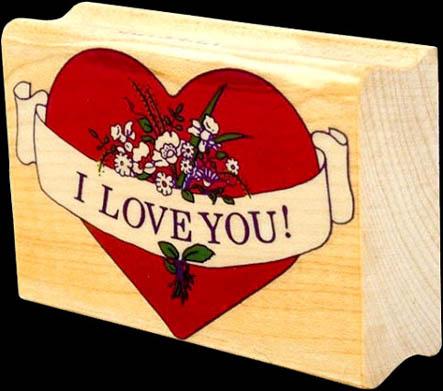 wood red heart I love you black