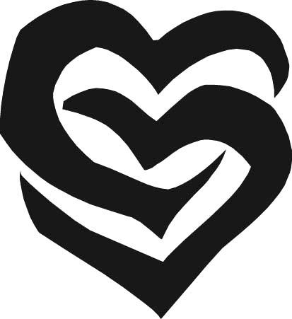 2 black heart intertwined dibujos de amor