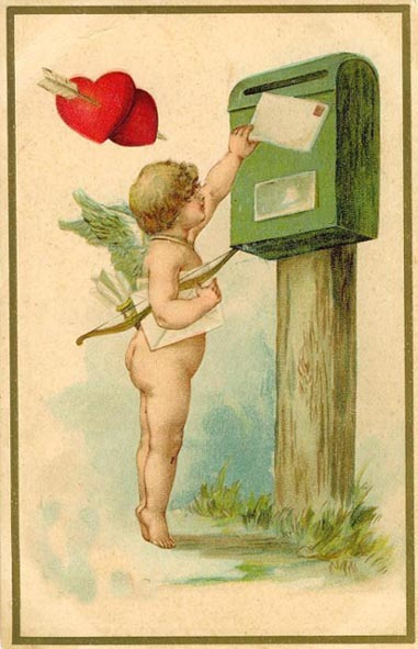 old Valentine card cupid sends love letter