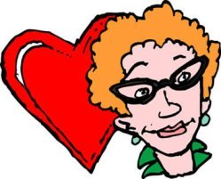 red heart woman with glasses