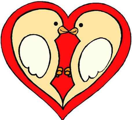 love birds in red love heart