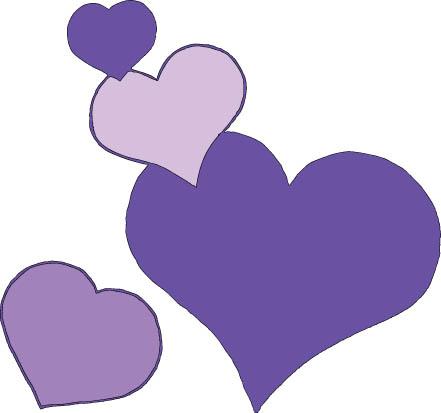 four hearts lilac color
