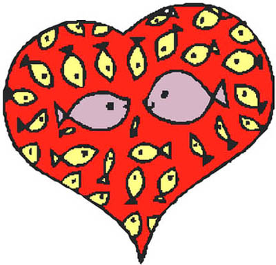 fish in red love heart