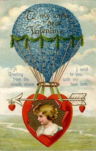 vintage air balloon valentine heart
