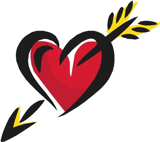 red love heart arrow