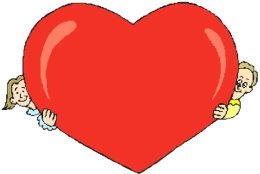 Two people holding red love heart