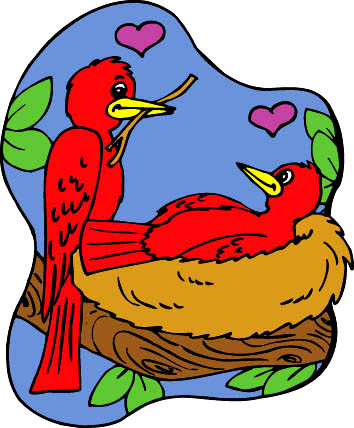 drawings of hearts 2 birds nest love
