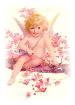 vintage cupid pink cherry blossoms bow arrow