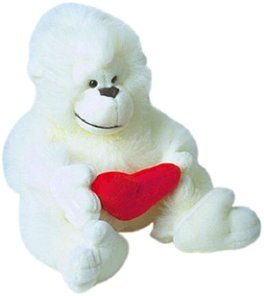love tips cute white stuffed gorilla heart