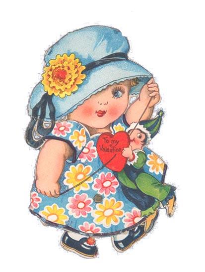 imagenes de amor old Valentine girl doll red love heart