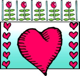 pink valentines heart clipart flowers