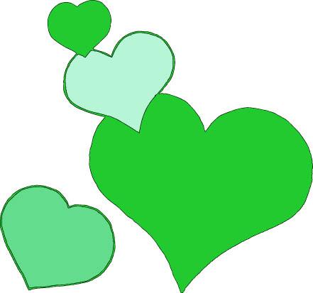 4 green hearts