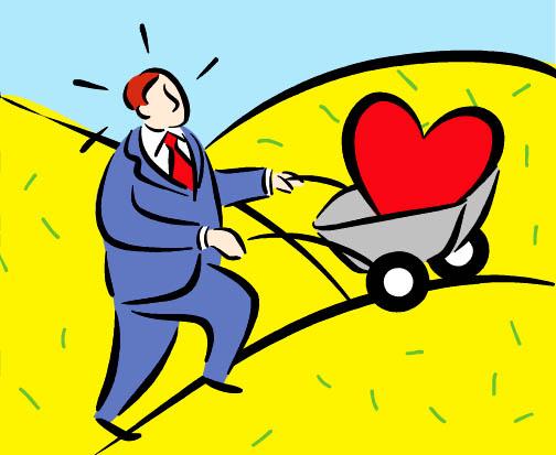 man pushing heart in wheelbarrow uphill