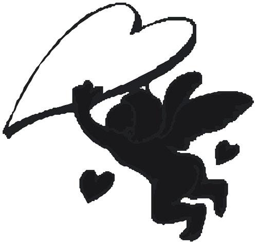 sketch cupid love heart black
