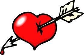 red love heart white arrow