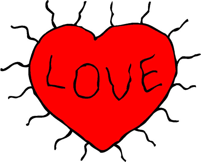 red heart text love