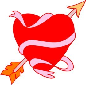 red heart with ribbon and arrow