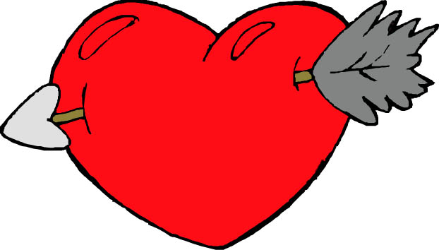 cupids arrow through red heart