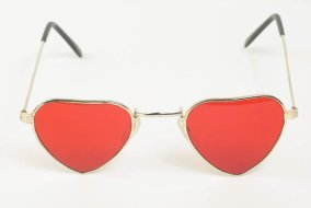 sunglasses with red heart lenses
