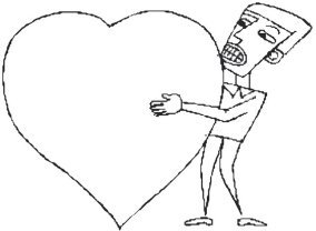 man with love heart sketch