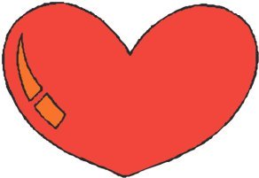 elongated red love heart drawings