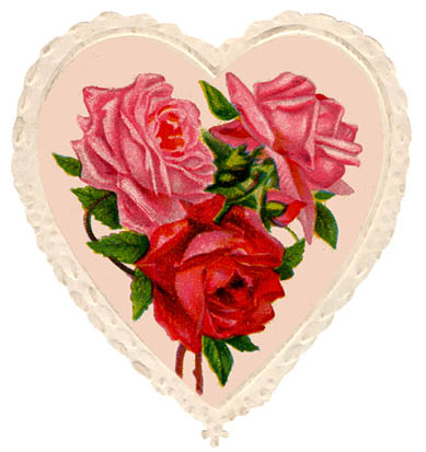 soft red heart roses