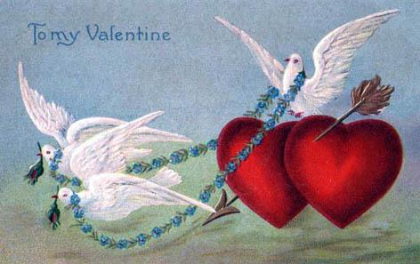 white doves red love hearts arrow valentine