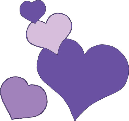 four hearts lilac color