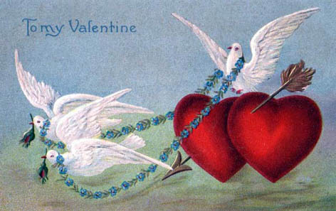 white doves red love hearts arrow valentine