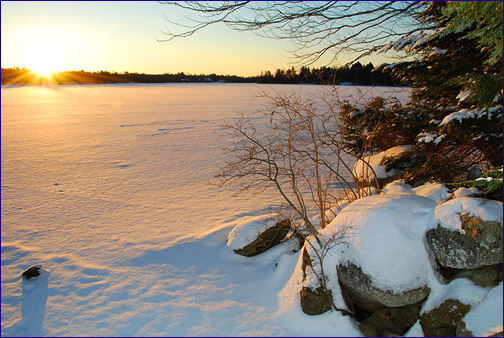 snow landscape in nova scotia sunrise