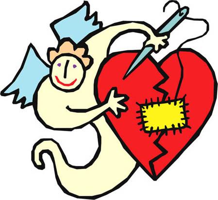 Angel fixing/mending broken heart