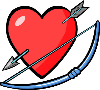 cupid graphics bow arrow red heart
