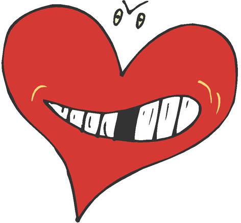 cartoon hearts rough red heart