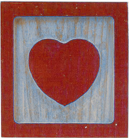 love heart carved in wood