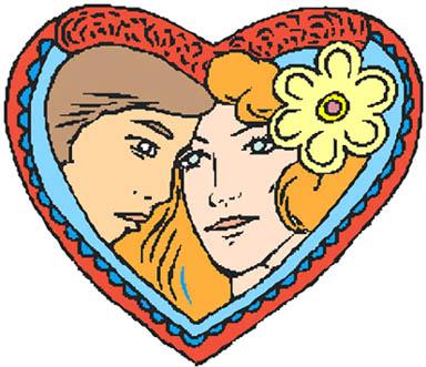 heart drawings couple inside decorative love heart