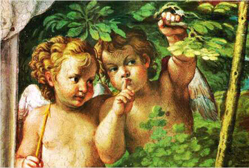 two cupids in the forest by Carracci