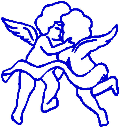 cupid graphics two cupids kissing blue