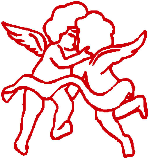 cupid graphics two cupids kissing red