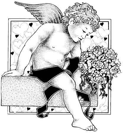 cupid graphics love hearts flowers drawing